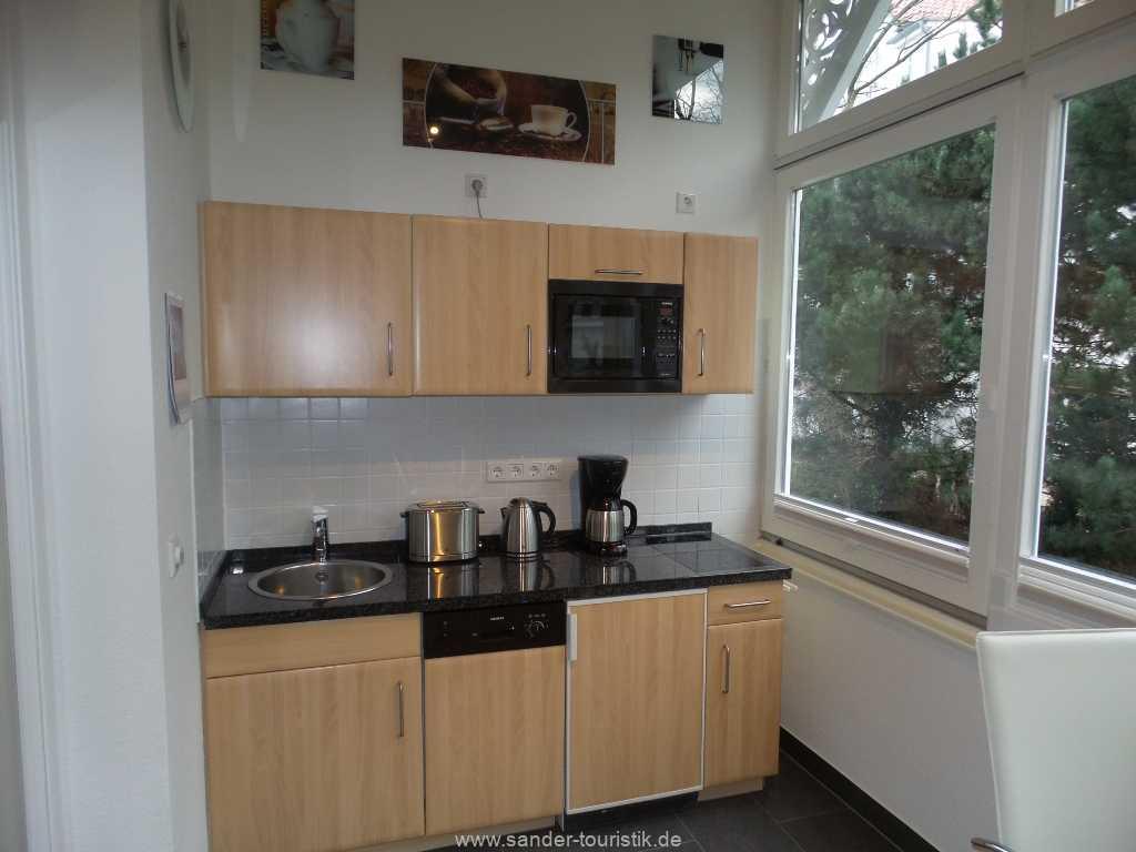 moderne Küchenzeile mit Spülmaschine und Mikrowelle - Villa Stranddistel - Binz