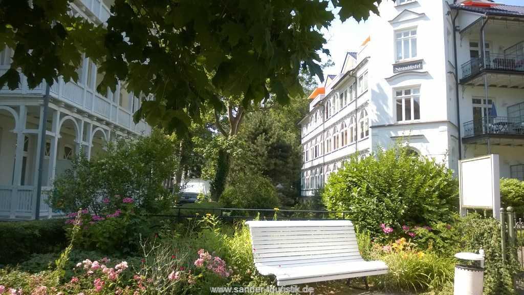 Seitenansicht Villa Stranddistel mit Veranda der FeWo - Villa Stranddistel in Binz
