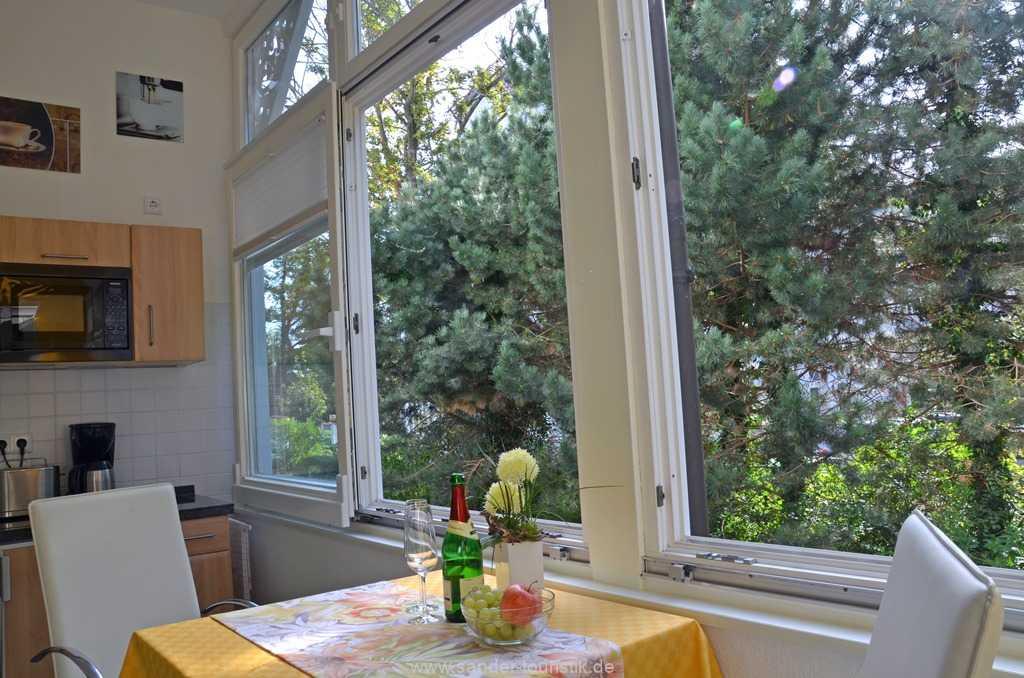 Essplatz mit großen Schiebefenstern auf der Veranda mit Gartenblick  - Villa Stranddistel - Binz