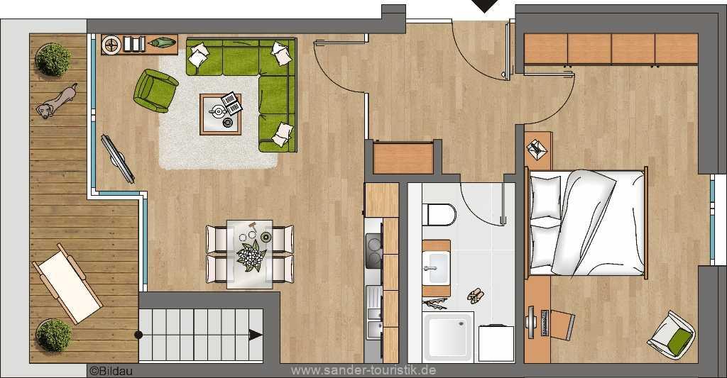 DünenResort- Grundriss der Wohnung 1.3.3