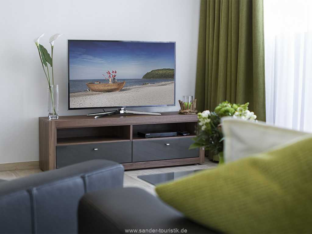 im Wohnzimmer befindet sich ein Flachbild TV