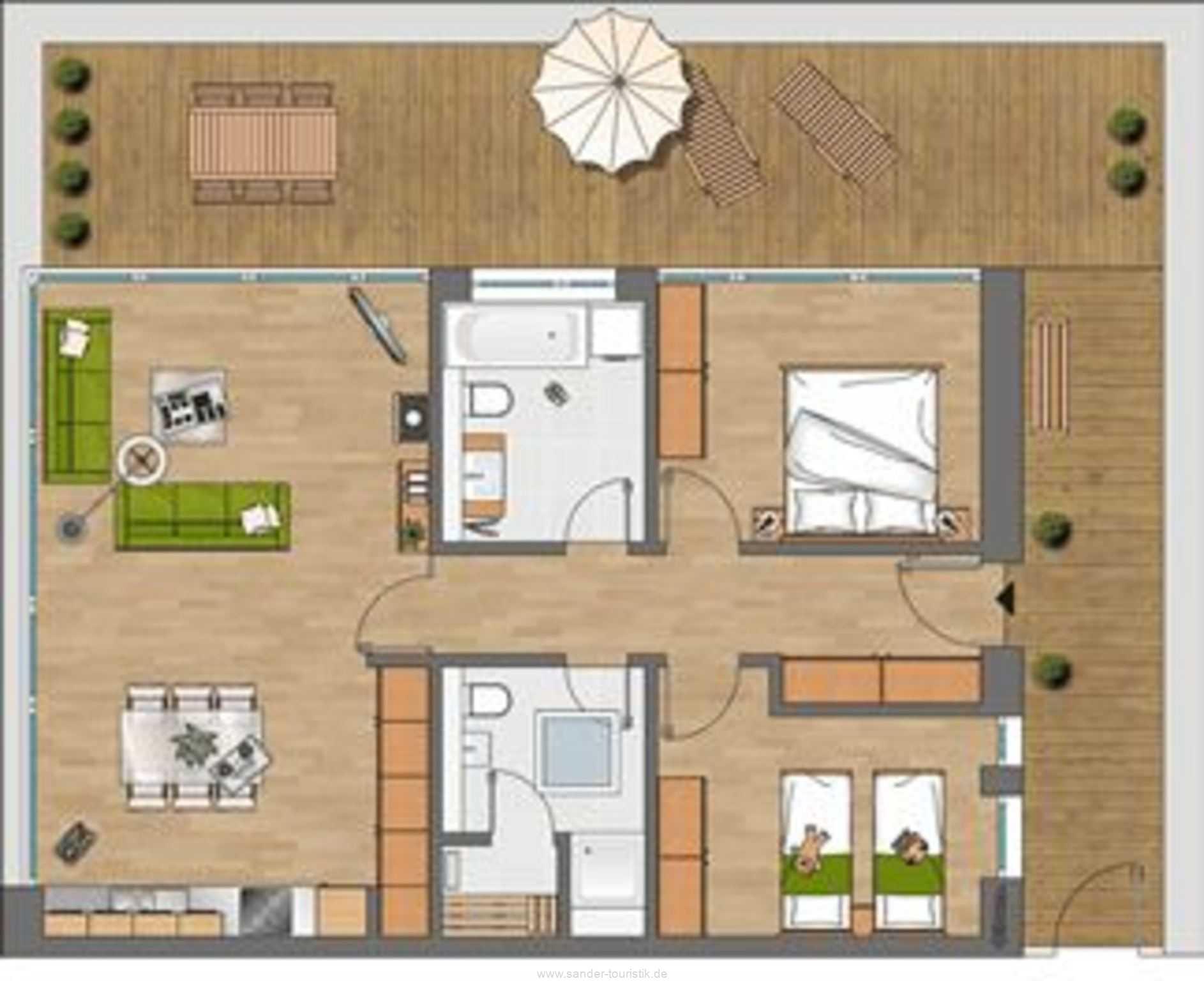Dünenresort - Grundriss Wohnung 1.4.3