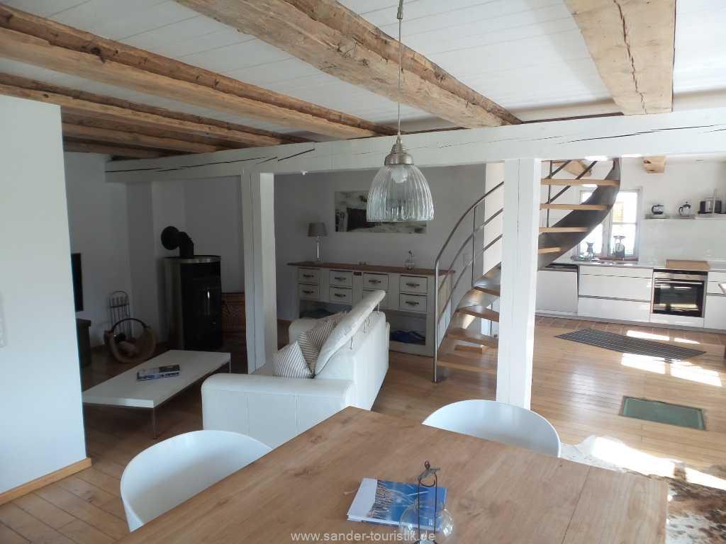 Blick in den Wohn-und Küchenbereich - Boddenblick - Mönchgut