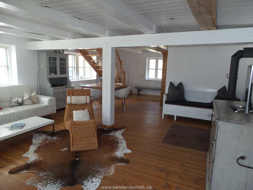 Wohnraum mit Holzofen - Boddenblick II - Mönchgut