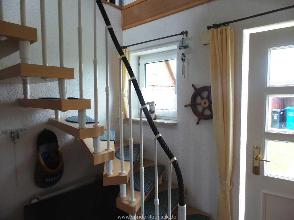 Treppe ins Obergeschoss, Ferienhaus am Anker